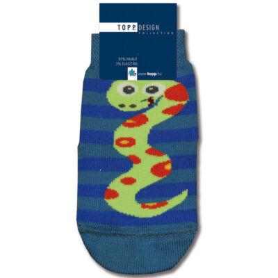 Mintás bébi bokazokni kék kígyó