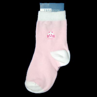 Mintás bébi bokazokni rózsaszín cica