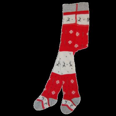 Karácsonyi mintás bébi harisnyanadrág rénszarvasokkal
