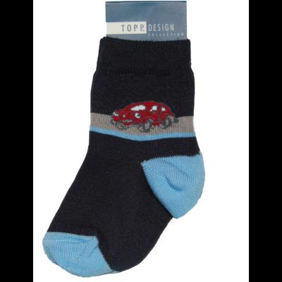 Piros kis autós bébi bokazokni kék-barna csíkos