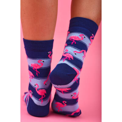 Flamingó mintás női bokazokni kék csíkos