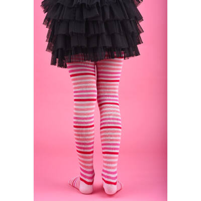 Gyermek harisnyanadrág mályva-rózsa-pink csíkos