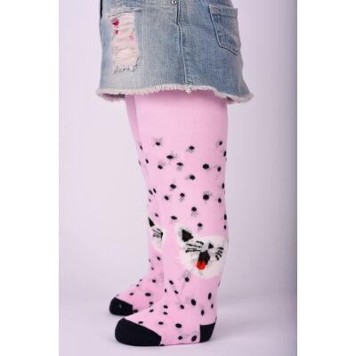 Bébi harisnyanadrág rózsaszín cica