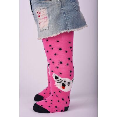 Bébi harisnyanadrág pink cica