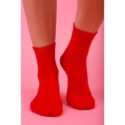 Egyszínű női  bokazokni Jenny piros