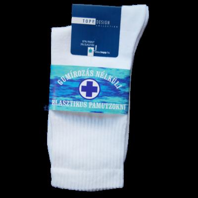 Gumirozás nélküli elasztikus pamutzokni fehér