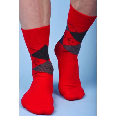 Kárókockás bokazokni lágy gumírozással scacchi rosso