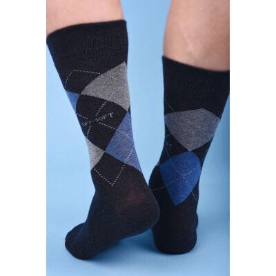 Kárókockás bokazokni lágy gumírozással scacchi grigio-blu