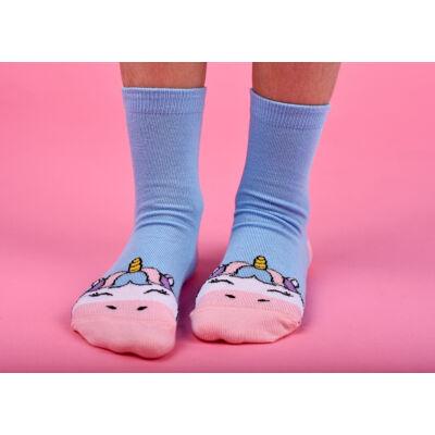 Mintás gyermek zokni világoskék unikornis