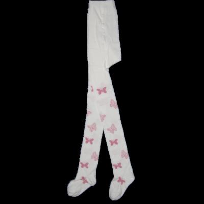 Mintás gyermek harisnyanadrág vajszínű rózsaszín lepkés Lurex