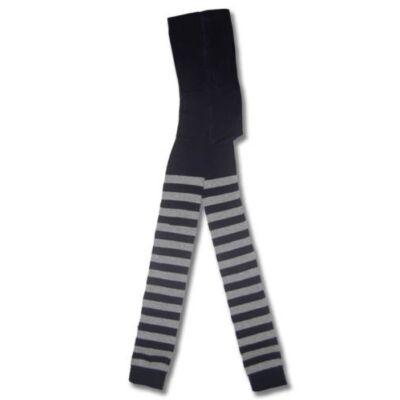 Csíkos bébi lábfej nélküli harisnyanadrág sötétkék szürke vastag csíkos