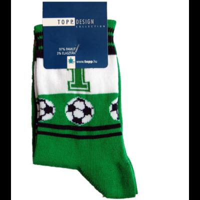 Mintás gyermek bokazokni zöld foci 1-es