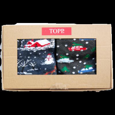 Karácsonyi mintás felnőtt bokazokni hóember+autós 2 pár egy dobozban