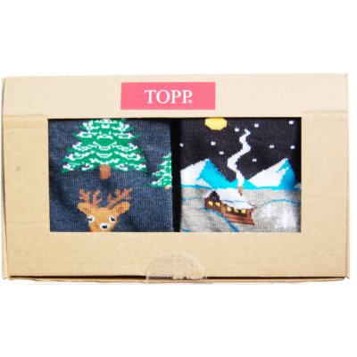 Karácsonyi mintás nő bokazokni özike+házikós 2 pár egy dobozban