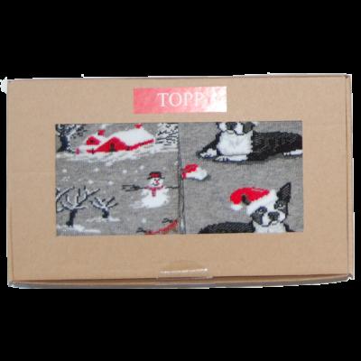 Karácsonyi mintás nő bokazokni hóember+buldogos 2 pár egy dobozban