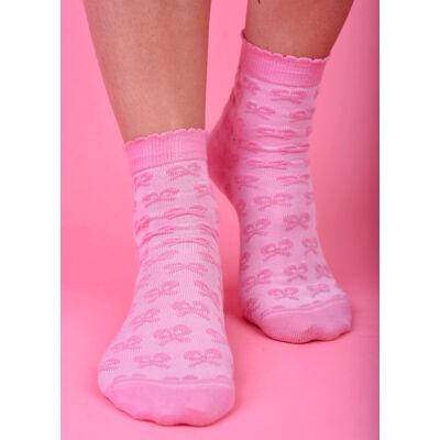 Női bokazokni dudor masni rózsaszín