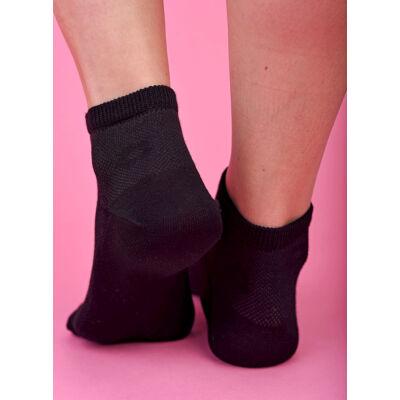 Félszárú női zokni  fekete áttört virágos