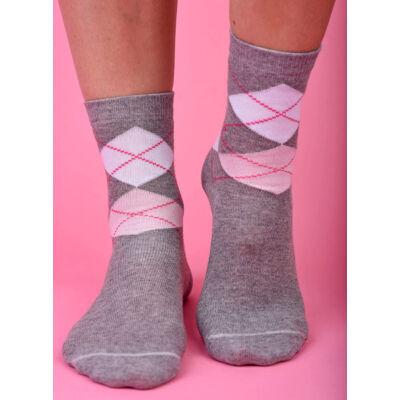 Női bokazokni kárókocka szürke-pink-fehér