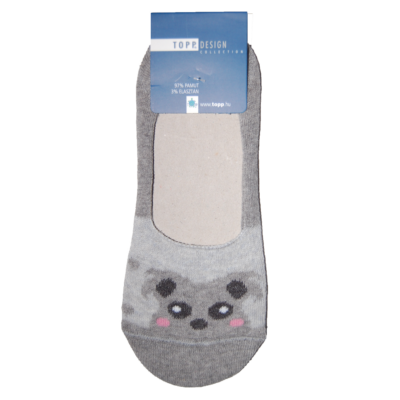 Szürke koala mintás női balerina zokni