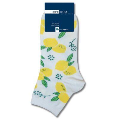 Gyermek rövid szárú zokni fehér citrom