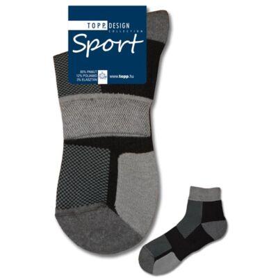Felnőtt rövid szárú sportzokni fekete szürke