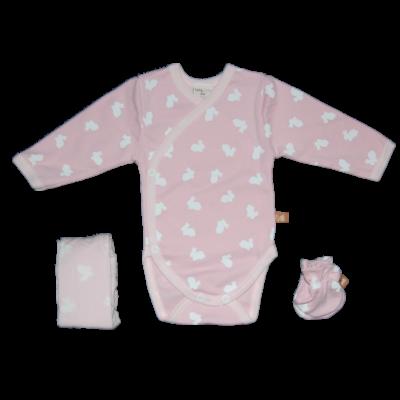 Teddy rózsaszín alapon fehér nyuszis háromrészes szett díszdobozban
