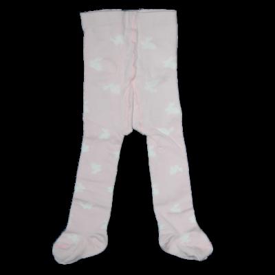 Teddy rózsaszín alapon fehér nyuszis harisnya