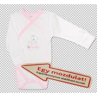 Teddy áthajtós kaparókesztyűssé alakítható body rózsaszín