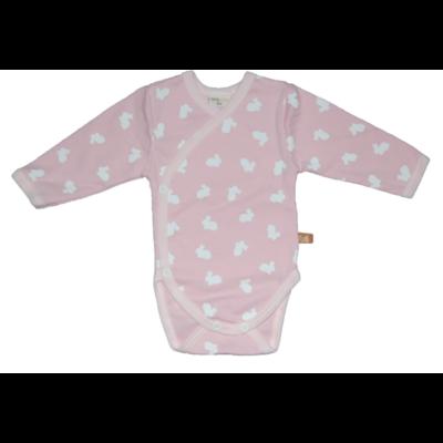 Teddy rózsaszín alapon fehér nyuszis body