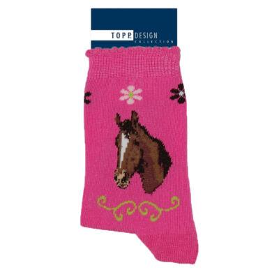 Mintás gyermek bokazokni pink ló