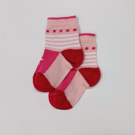 Baba zokni/Bokazokni rózsaszín- pink csillag