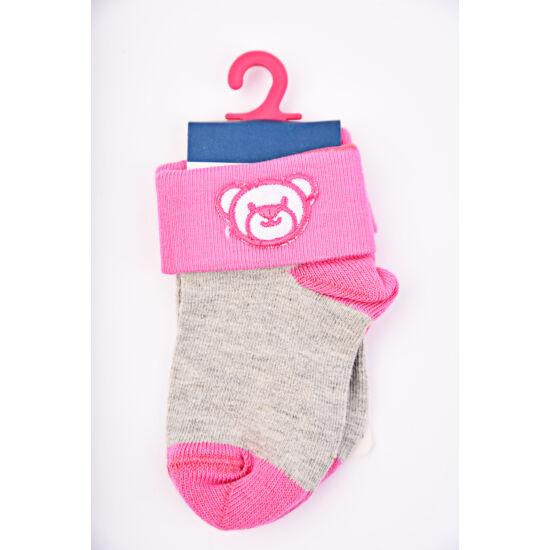 Baba zokni/Bokazokni pink hímzett maci
