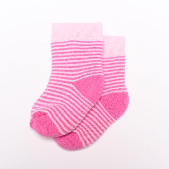 Baba zokni/Bokazokni frottír vékony rózsaszín csíkos