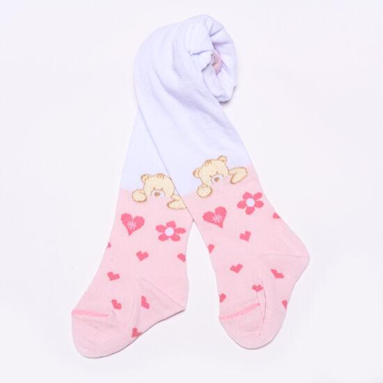 Teddy harisnyanadrág macis rózsaszín