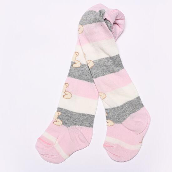 Teddy harisnyanadrág rózsaszín-szürke maci csíkos