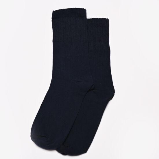 Gumírozás nélküli elasztikus pamutzokni sötétkék