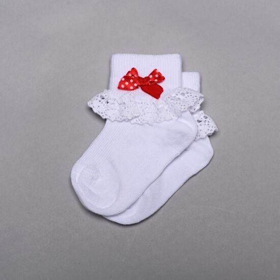 Teddy bébi zokni csipkés-piros masni