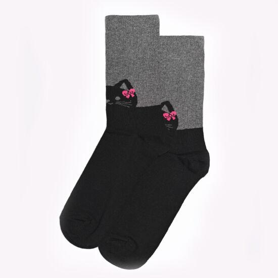 Női bokazokni fekete cica pink masnival