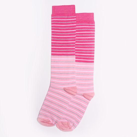 Gyermek térdzokni rózsaszín lurex csíkos