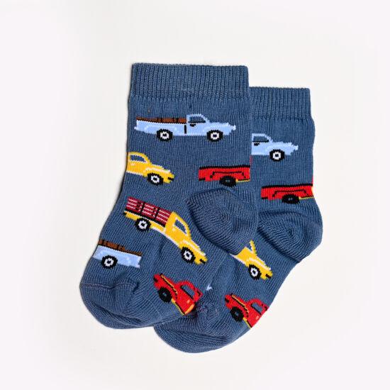 Baba zokni/Bokazokni színes farmerkék autós