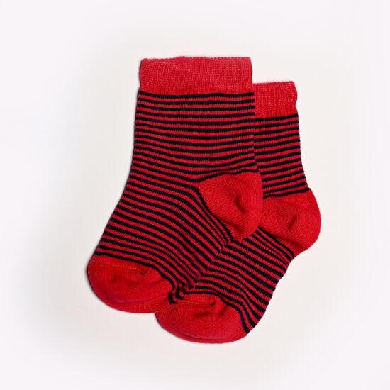 Baba zokni/Bokazokni piros csíkos