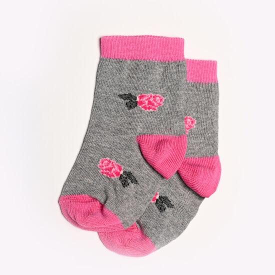Baba zokni/Bokazokni szürke alap rózsa