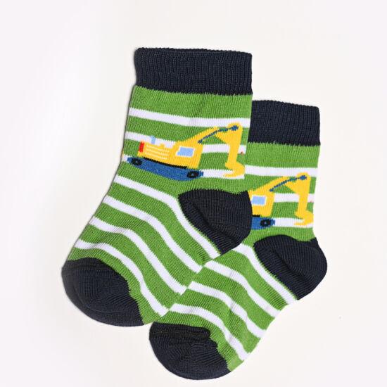 Baba zokni/Bokazokni zöld csíkos markoló