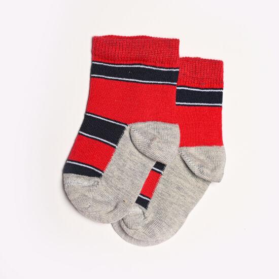 Baba zokni/Bokazokni piros-sötétkék csíkos