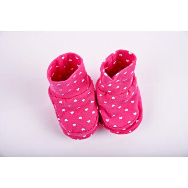 Teddy cipőcske pink - szíves