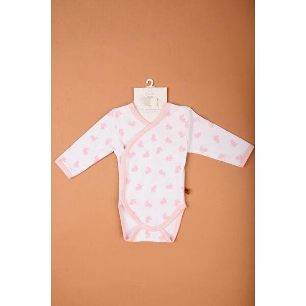 Teddy fehér alapon rózsaszín nyuszis body
