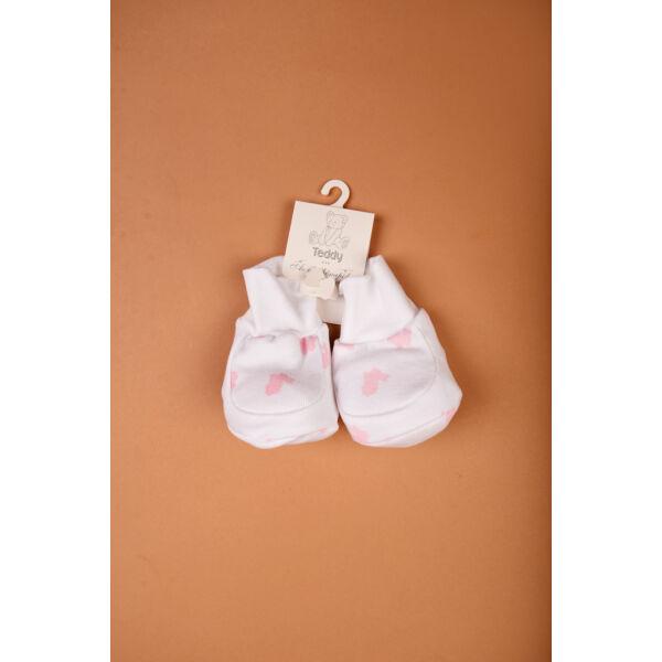Teddy cipőcske fehér-rózsaszín nyuszi