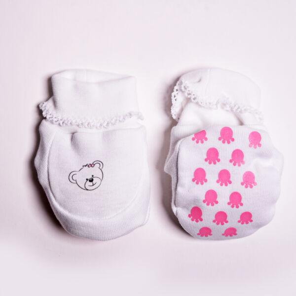 teddy horgolt cipőcske rózsaszín tappancs