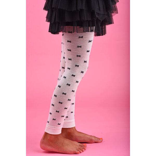 Gyermek lábfej nélküli harisnya lurex masni