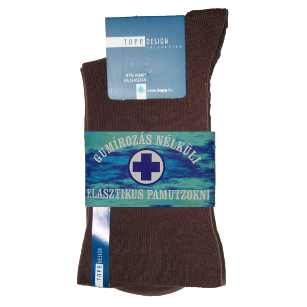 Wellness' elasztikus passzéval pamutzokni barna